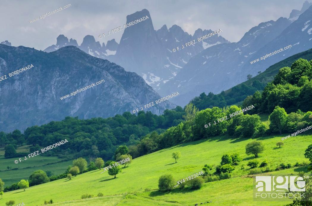 Naranjo De Bulnes Panoramic Views From Mirador Del Pozo De La Oración At Cabrales Picos De Europa Stock Photo Picture And Rights Managed Image Pic Xv4 1823048 Agefotostock