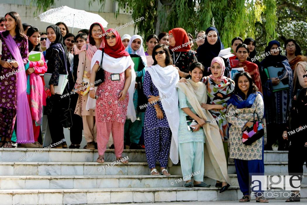 Students at the all-female Fatima Jinnah University in