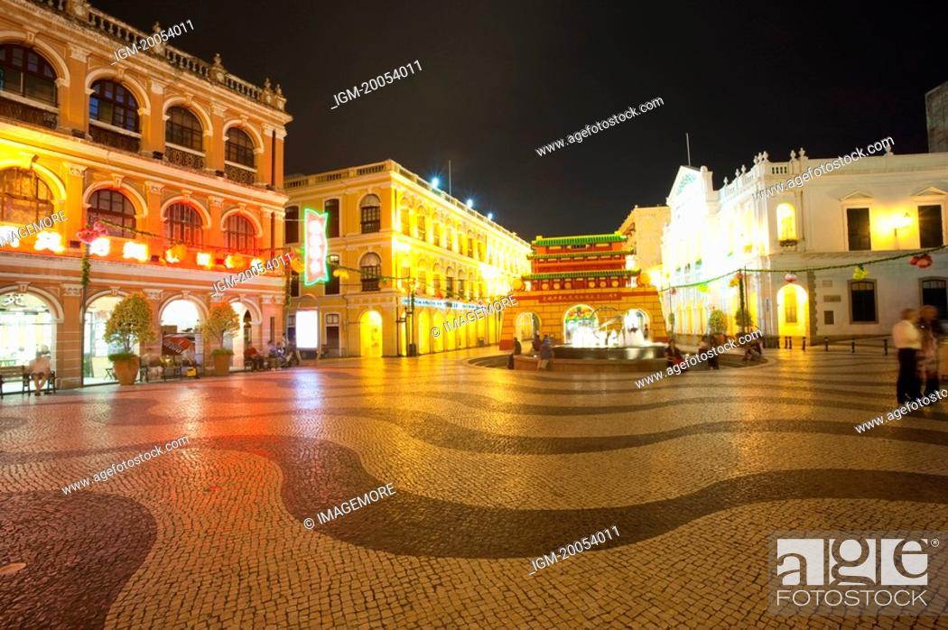 Stock Photo: China, Macou, Senado Square, UNESCO, World Cultural Heritage.