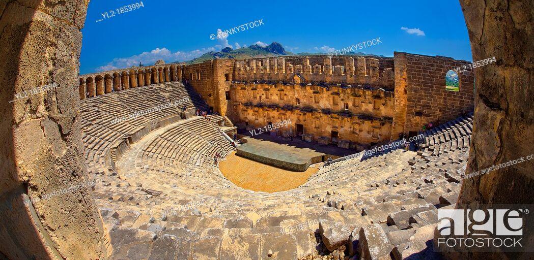 Stock Photo: The Roman Theatre of Aspendos, Turkey  Built in 155 AD during the rule of Marcus Aurelius, Aspendos Theatre is the best preserved ancient theatre in Asia Minor.