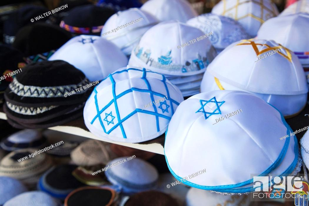 Stock Photo: Israel, Tel Aviv, Nahalat Binyamin Crafts Market, Jewish yarmulke hats.