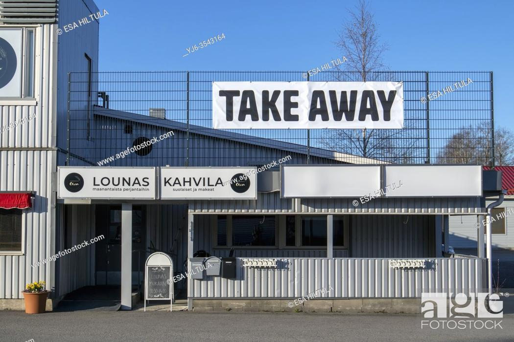 Stock Photo: Take away sign on restaurant outdoors.