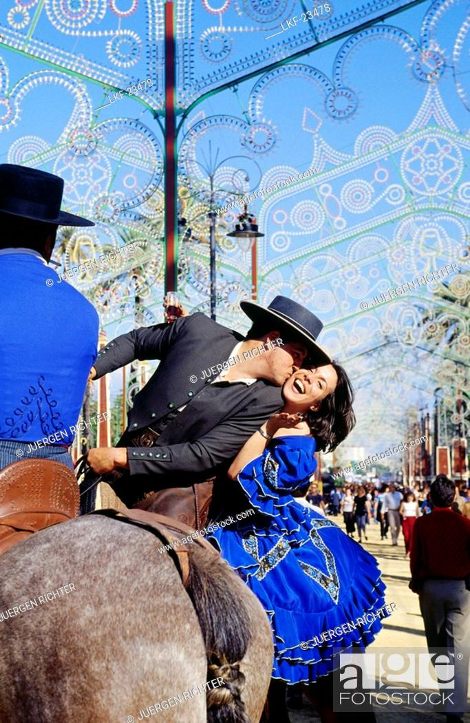 Stock Photo: Couple on horseback, Feria del Caballo, Festivity, Jerez de la Frontera, Province of Cadiz, Andalusia, Spain.