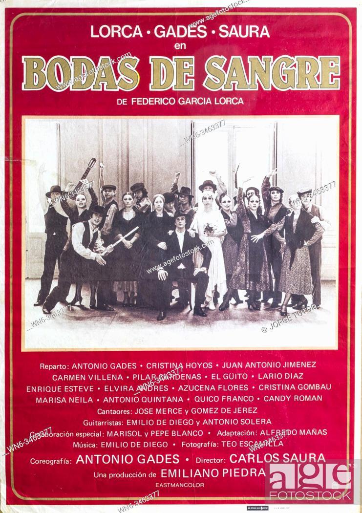 Imagen: Film poster, 1979, from Carlos Saura of Bodas de Sangre, Garcia Lorca, with Antonio Gades, Cristina Hoyos.