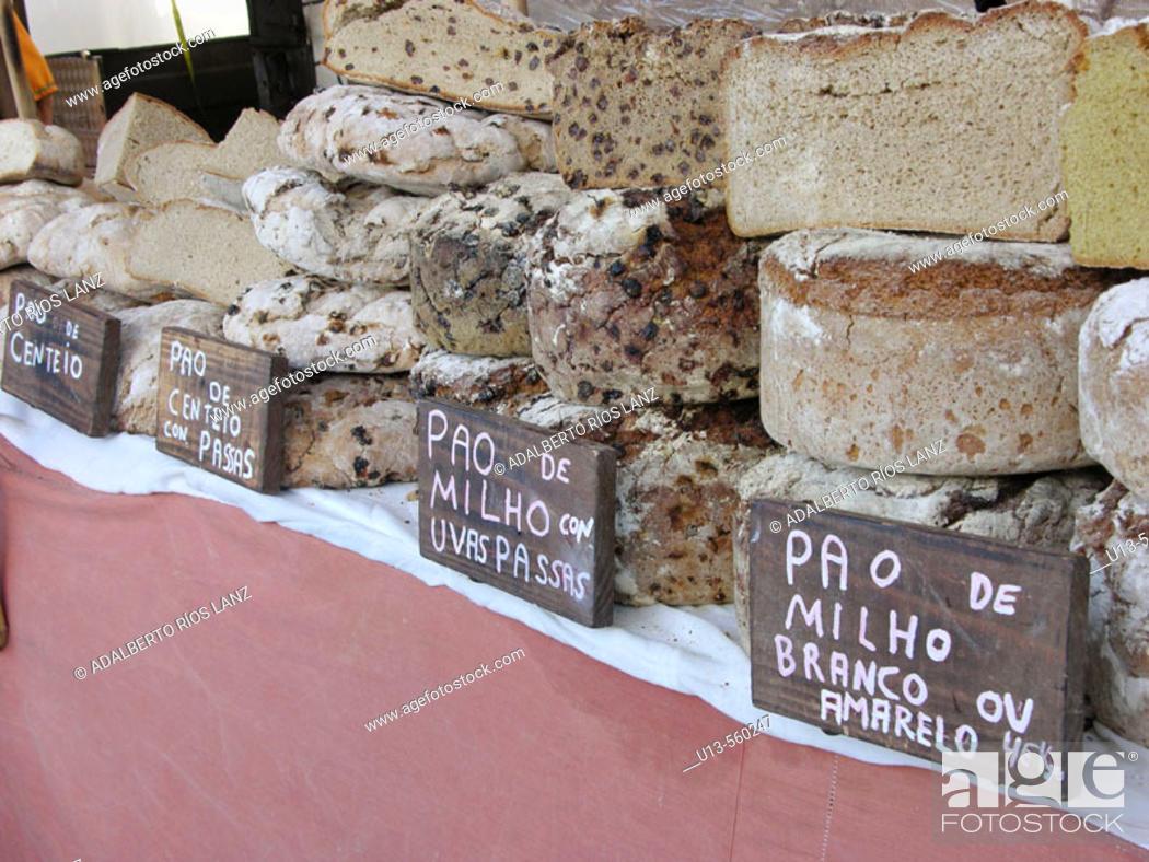 Stock Photo: Corn, rye and raisins breads for sale.