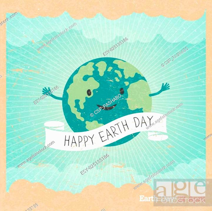 Stock Vector: Cartoon Earth Illustration. Planet smile and hold banner with Save Me words. Vintage Earth Day Poster. Rays, clouds, sky. Text on white ribbon.