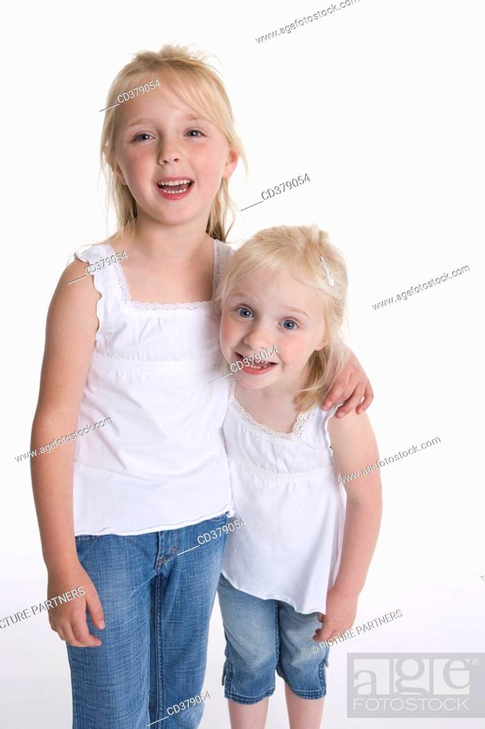 Stock Photo: Portrait of two blond girls.