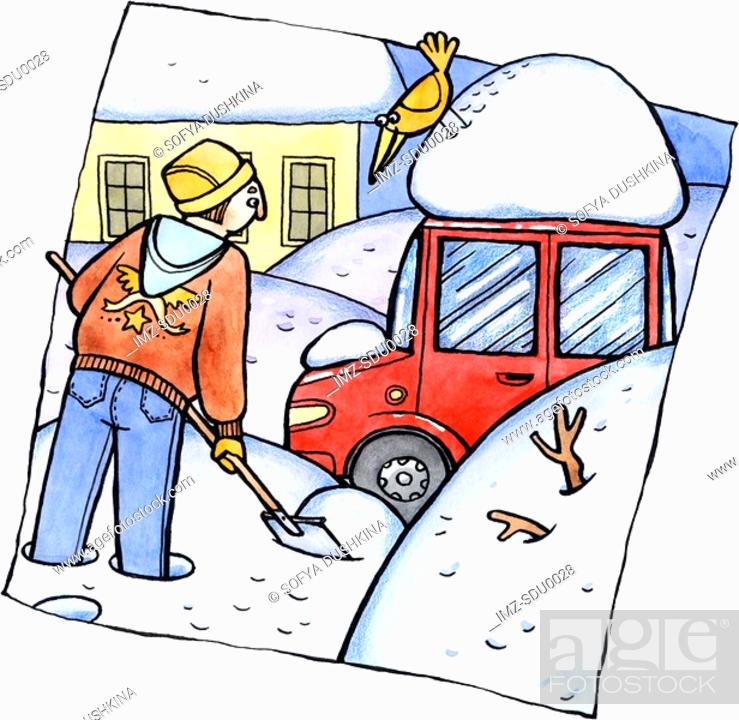 Stock Photo: A man shoveling snow in his driveway.