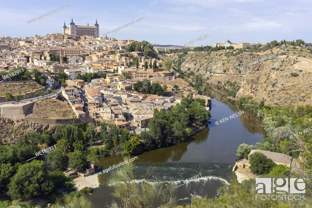 Stock Photo: Toledo, Toledo Province, Castilla-La Mancha Spain. Overall view of the historic centre showing the Tagus River (Rio Tajo) and the Alcazar.