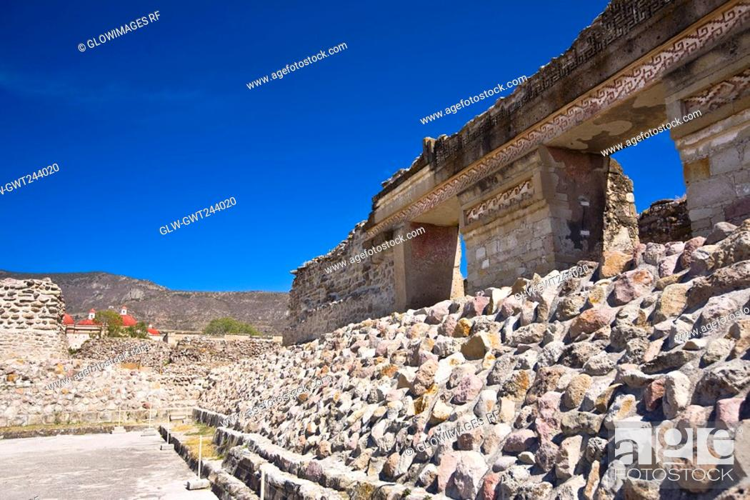 Stock Photo: Old ruins of a building, Mitla, Oaxaca State, Mexico.