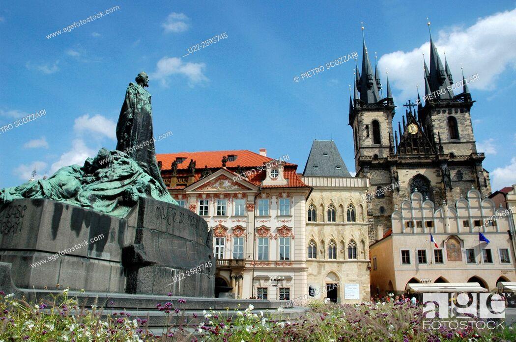 Stock Photo: Czech Repblic, Prague, Jan Hus Monument. Tyn Church. The Old Town Square.