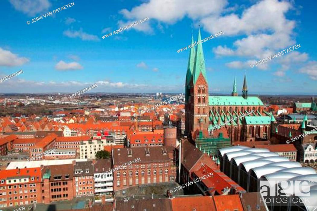 Stock Photo: Aerial view on the old center of Lubeck, Schleswig-Holstein, Germany, with the Church of Saint Mary.