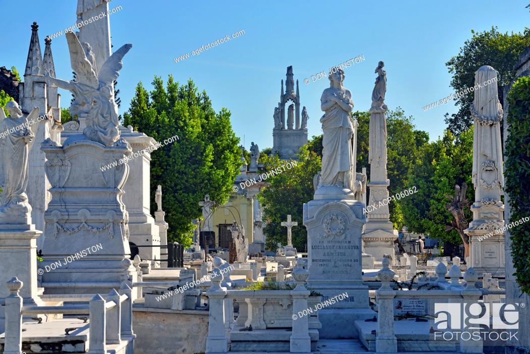 Stock Photo: Colon Cemetery (Cementerio de Cristóbal Colón)- Decorative statuary on the memorials to the wealthy.