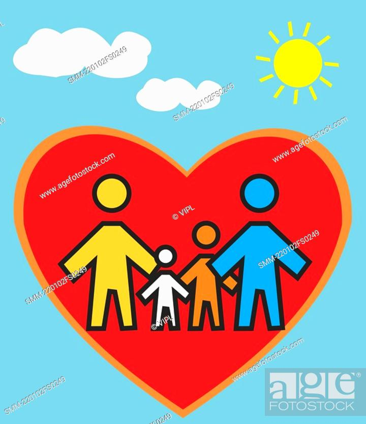 Stock Photo: Family Standing in heart shape.
