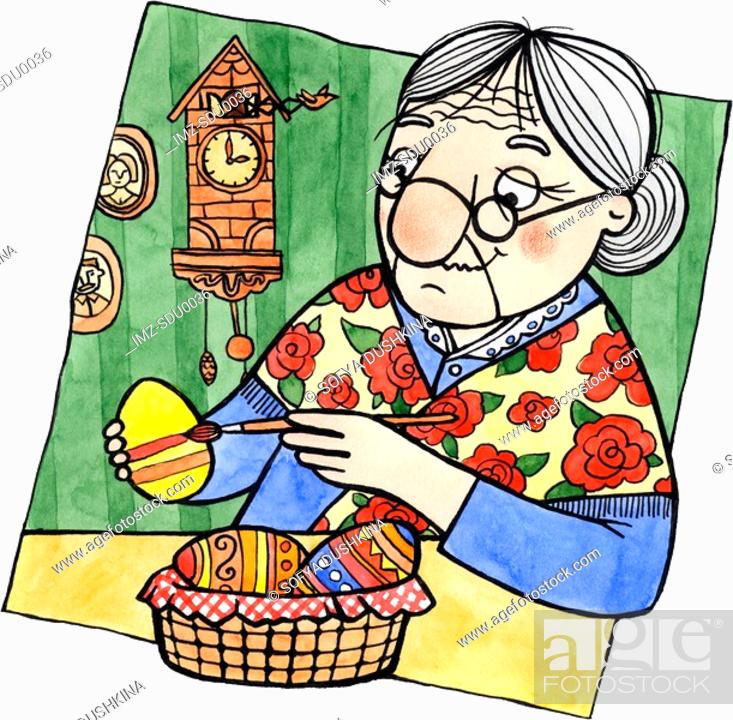 Stock Photo: An old woman painting Easter eggs.