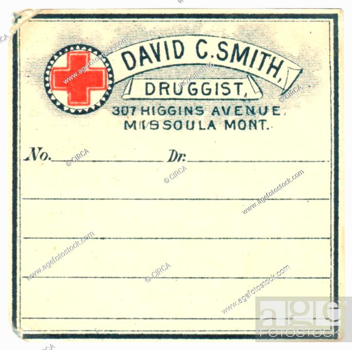 Stock Photo: A vintage medicine label from a drug store.