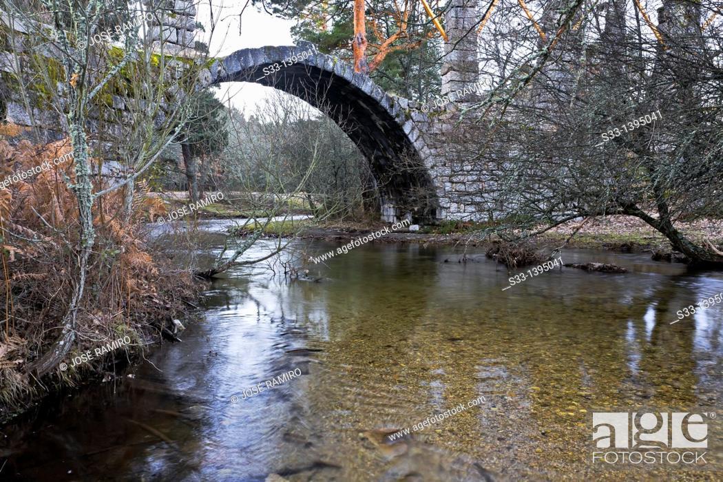 Stock Photo: Peñalara bridge over the Eresma river  Valsaín  Segovia  Castilla León  Spain.