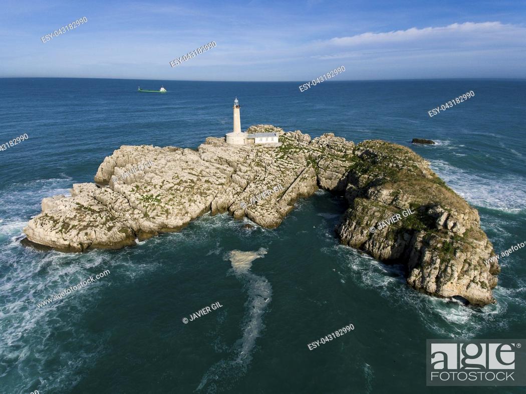 Stock Photo: Mouro island, Santander, Cantabria, Spain.
