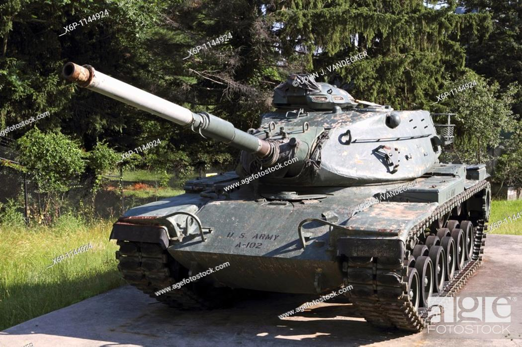 Stock Photo: United States M60A1 Army Tank also called the Patton tank in honor of General George Patton, Commander of the US Third Army in World War II  The Patton tanks.