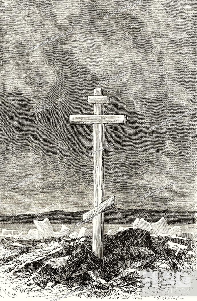 Stock Photo: Russian cross in Yugorsky Straits, Novaya Zemlya archipelago. Arctic, Russia. Europe, 19th century Old engraving illustration trip to the North Pole.