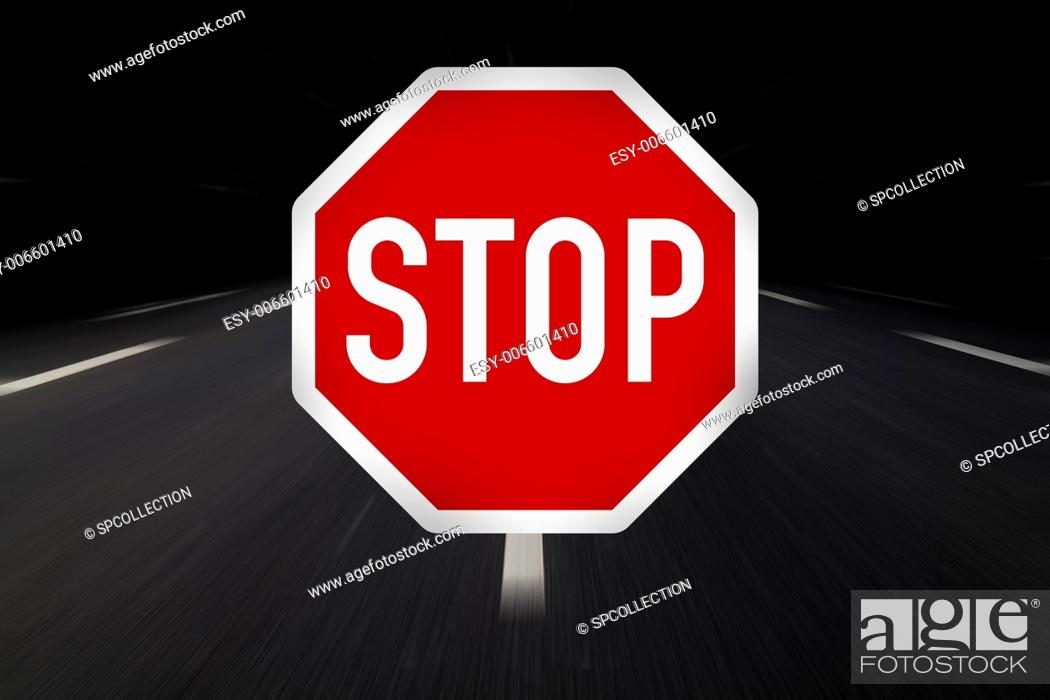 Stock Photo: stop traffic sign on highway.