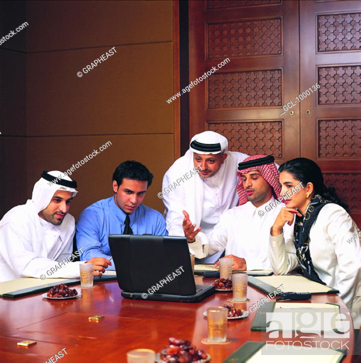 Stock Photo: Arab businesspeople in conference.