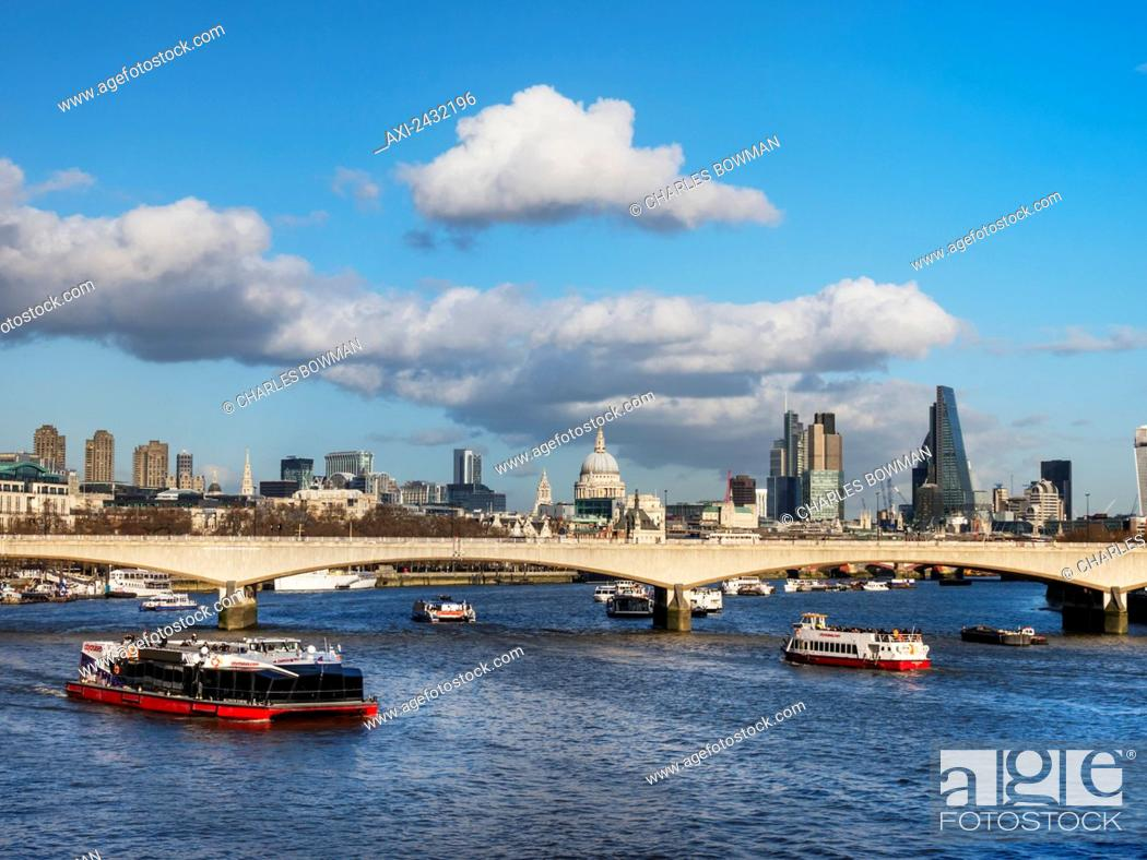 Stock Photo: St Paul's Cathedral, bridge and skyline; London, England.