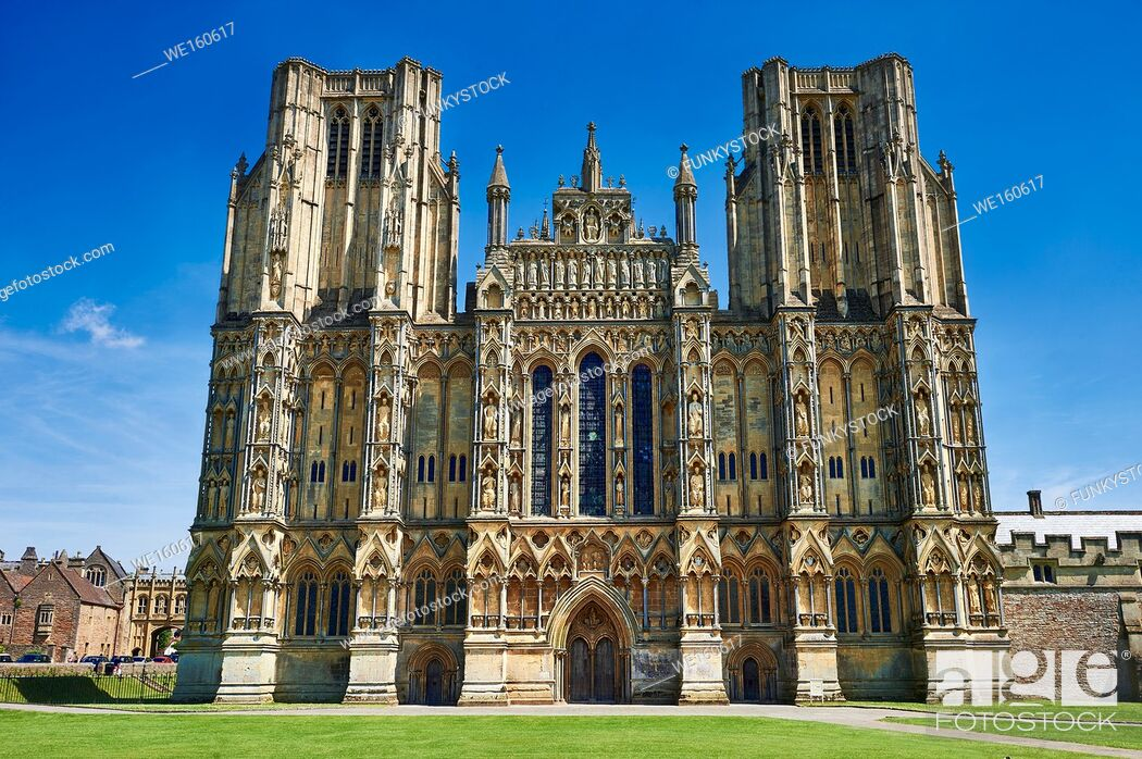 Stock Photo: The facade of the the medieval Wells Cathedral built in the Early English Gothic style in 1175, Wells Somerset, England.
