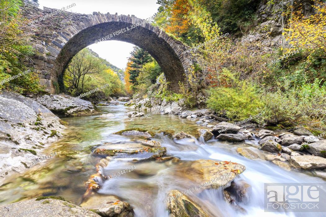 Stock Photo: Romanesque bridge near Isaba in Belagua River, Roncal Valley, Navarra, Spain.