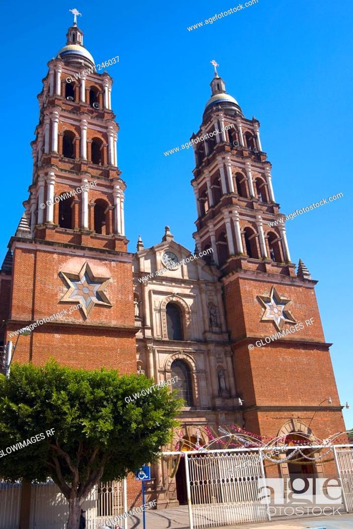 Stock Photo: Facade of a church, Iglesia De San Juan Nuevo, Uruapan, Michoacan State, Mexico.