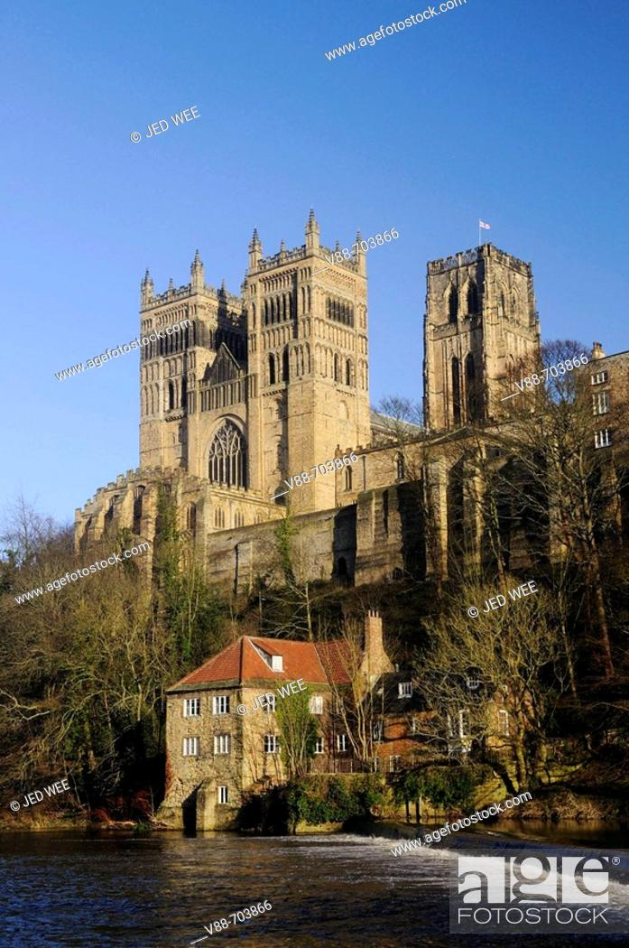 Durham Cathedral In Winter Sunshine Overlooking The Fulling Mill