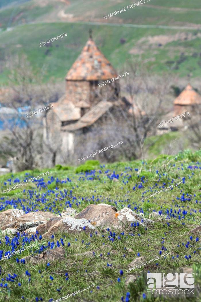 Stock Photo: The 9th century Armenian monastery of Sevanavank at lake Sevan.