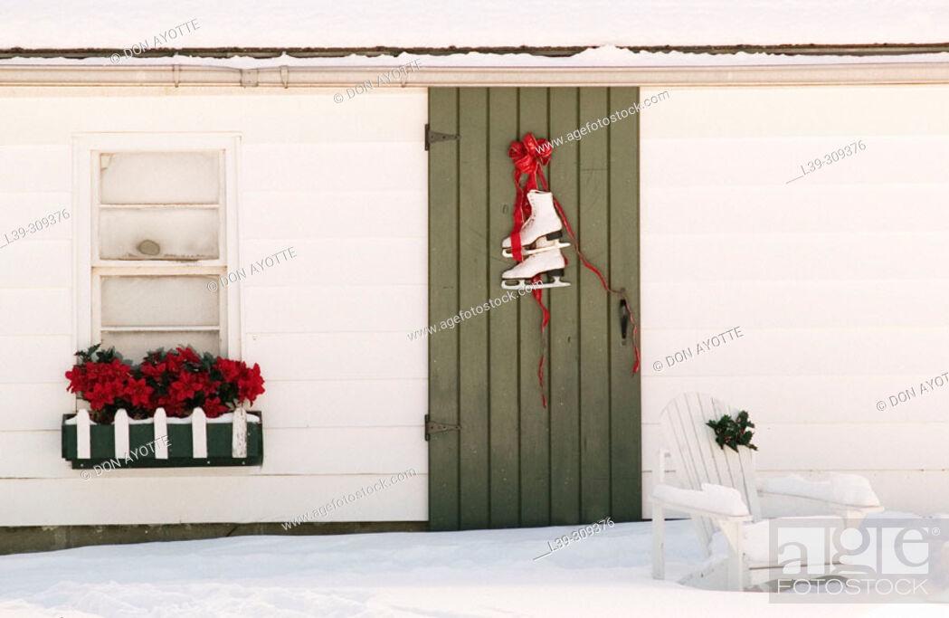 Stock Photo: Ice skates on door.