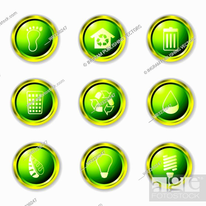 Stock Vector: Environmental Buttons in green with metal gold rims and drop shadow.
