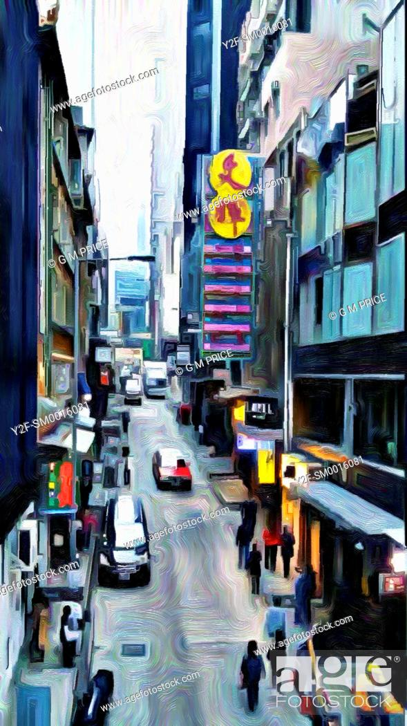 Stock Photo: oil paint filter view of Soho streetscape in Hong Kong.