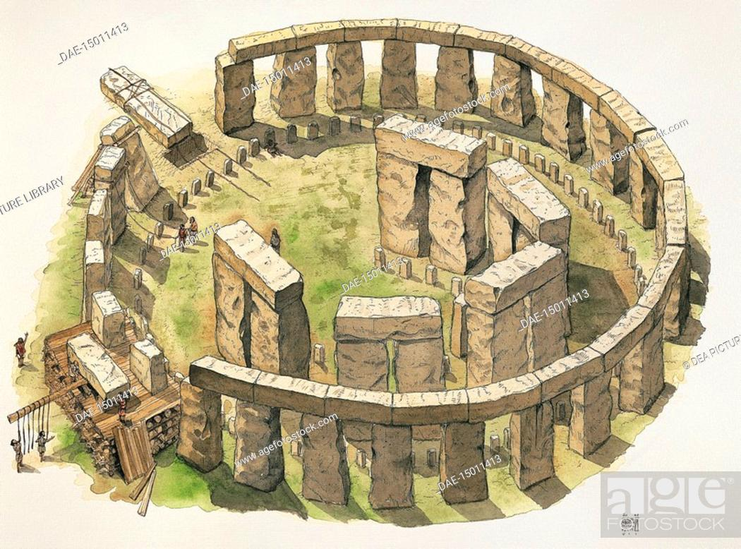 Stock Photo: Prehistoric Britain - Construction of the Stonehenge enclosure - Drawing.