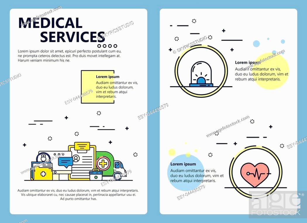 Stock Vector: Medical services web banner, poster, flyer, leaflet, brochure template. Vector modern thin line art flat style design illustration.