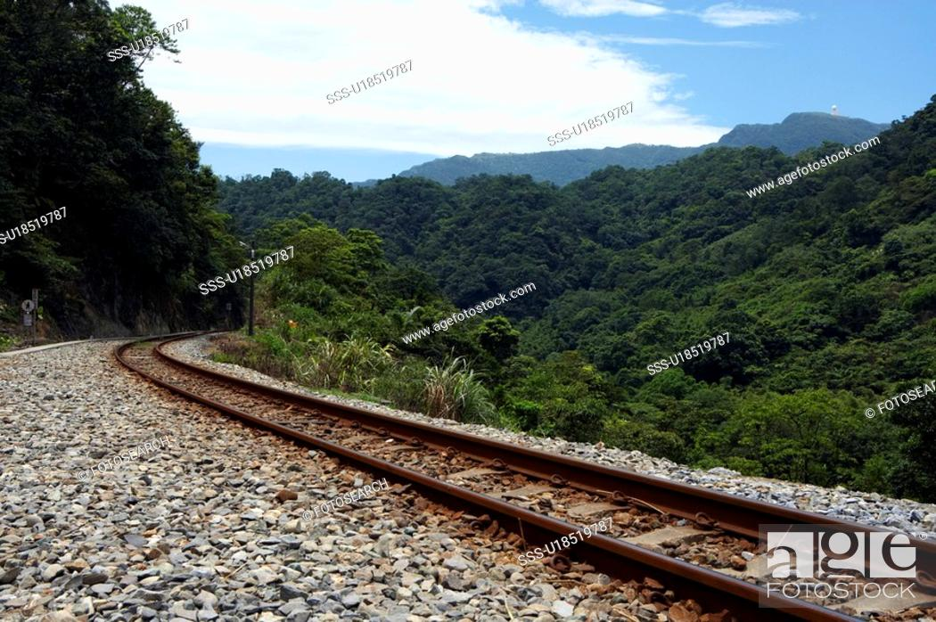 Stock Photo: Railway tracks, Ping Si, Taiwan.