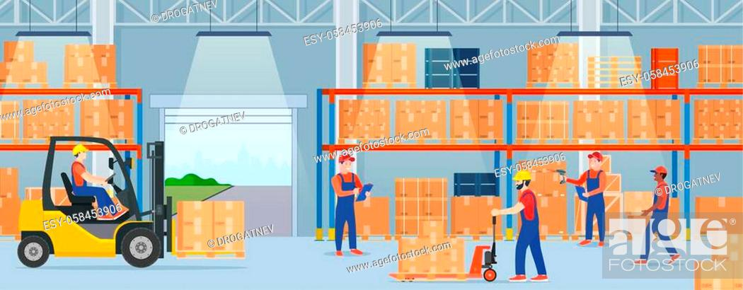 Stock Vector: Warehouse interior with cardboard boxes. Staff surrounded by boxes on rack and transport of storehouse interior. pallet trucks, forklift truck.
