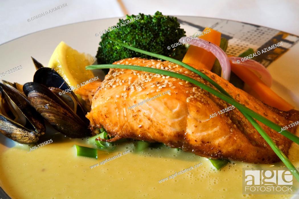 Stock Photo: Salmon, chive sauce  Sjobua Restaurant  Alesund More og Romsdal, Norwegian fjords, Norway.