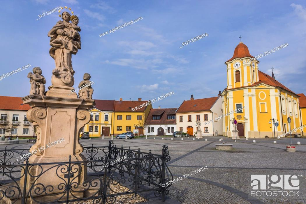 Stock Photo: Church of Saint Bartholomew on Saint Bartholomew Square in Veseli nad Moravou town in the South Moravian Region of the Czech Republic.