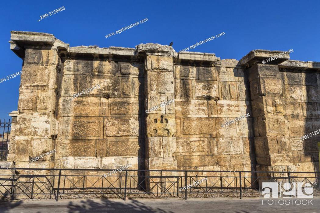 Stock Photo: Hadrain's Library rear wall (132 AD), Athens, Greece.