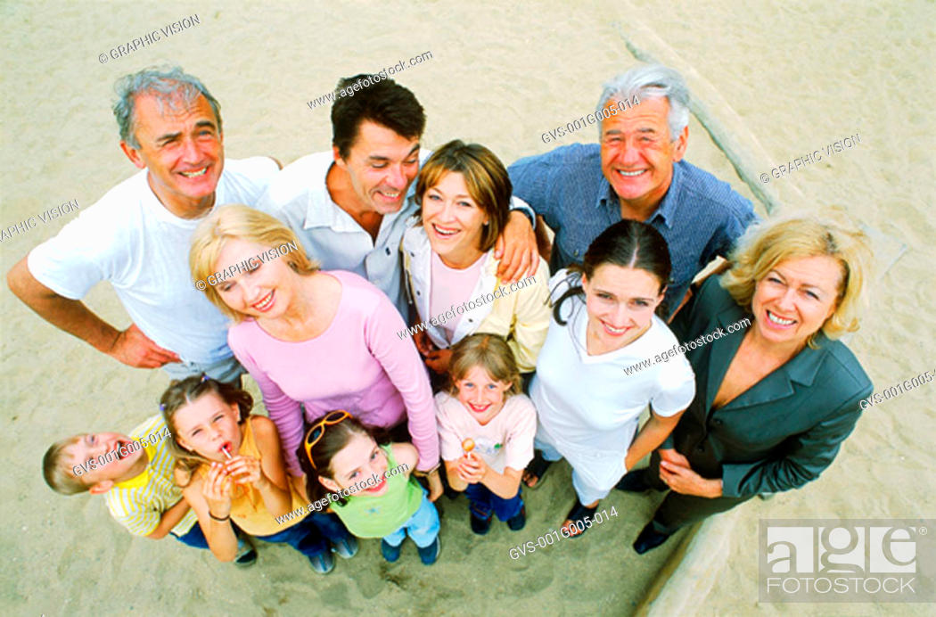 Stock Photo: High angle view of family.