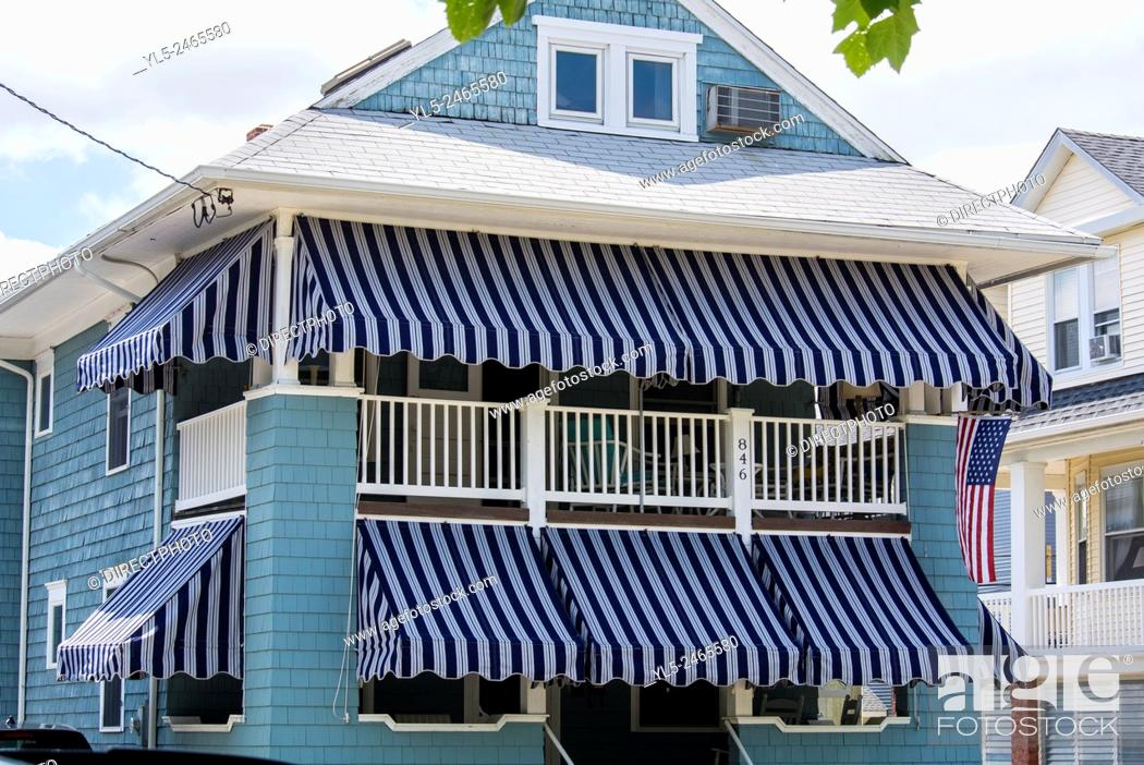 Stock Photo: Ocean City, NJ, USA, Resort Town, Multi-Family Wooden House with Awning, near Beach.