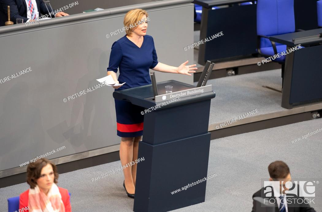 Stock Photo: 03 July 2020, Berlin: Julia Klöckner (CDU) Federal Minister of Food and Agriculture, speaks in the plenary session of the German Bundestag.