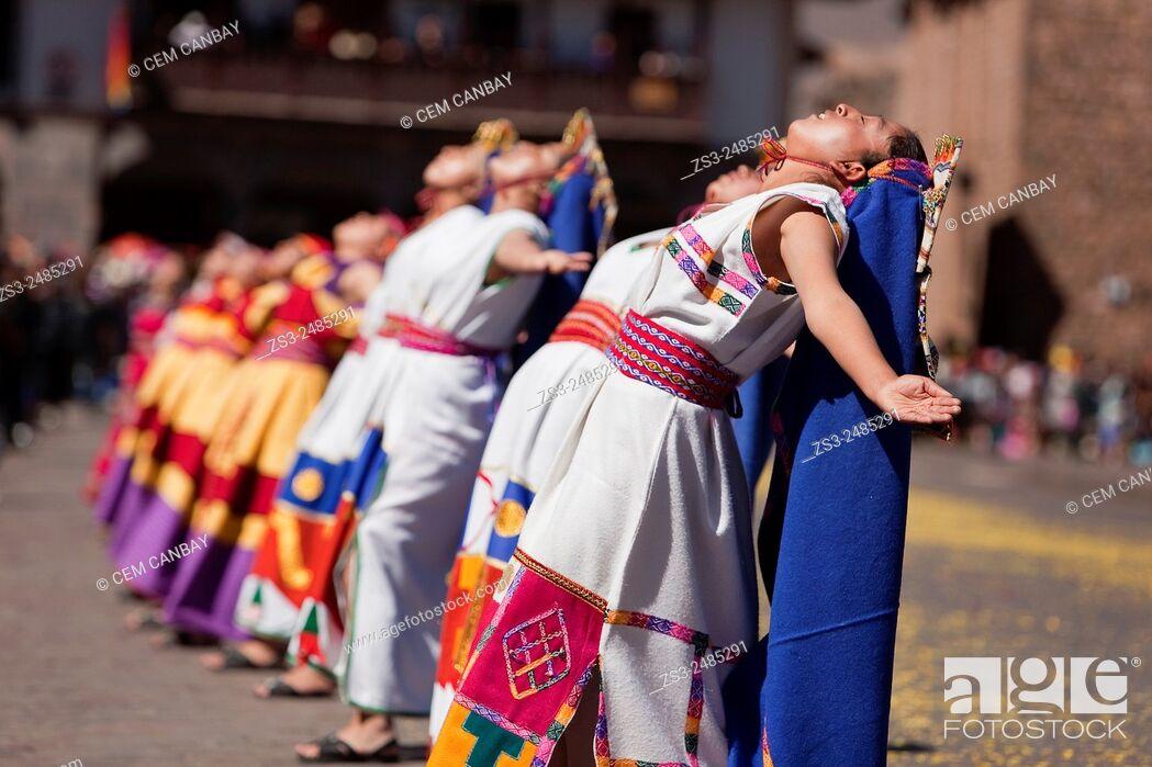 Stock Photo: Scene from the celebrations of the Inti Raymi Festival at Plaza de Armas, Cuzco, Peru, South America.