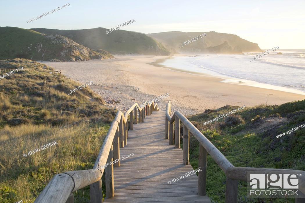 Stock Photo: Staircase at Amado Beach; Algarve; Portugal; Europe.