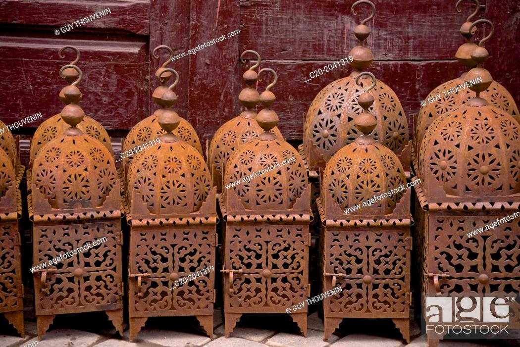 Stock Photo: Metal Lanterns for sale in the street of the Medina, Marrakech, Morocco, North Africa.