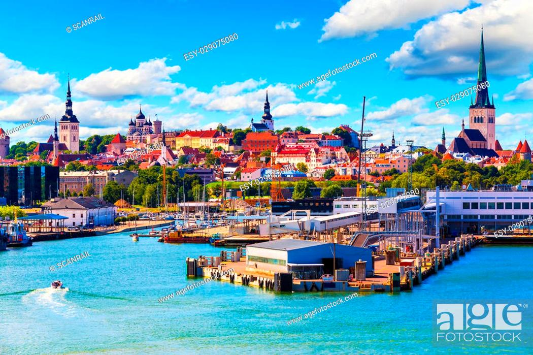 Stock Photo: Scenic summer view of the Old Town and sea port harbor in Tallinn, Estonia.