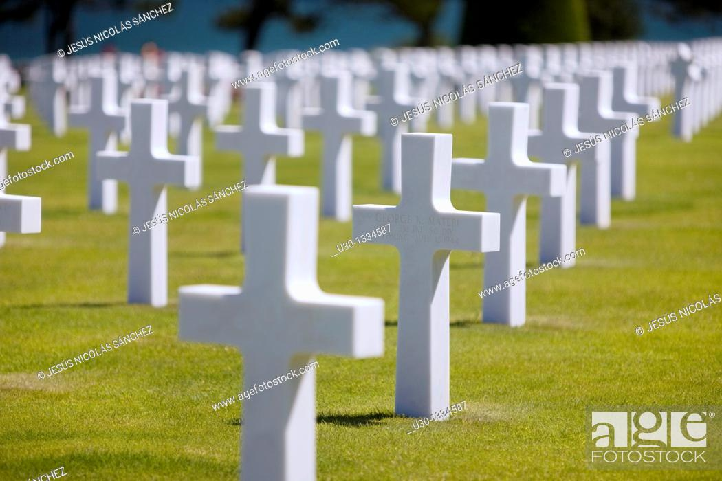 Stock Photo: American cemetery in Colleville-sur-Mer  Normandy  France.